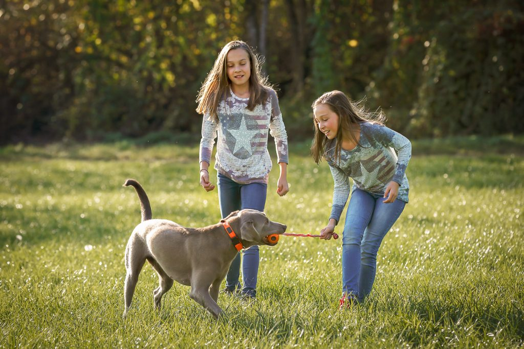 2 girls and one dog playing outdoor
