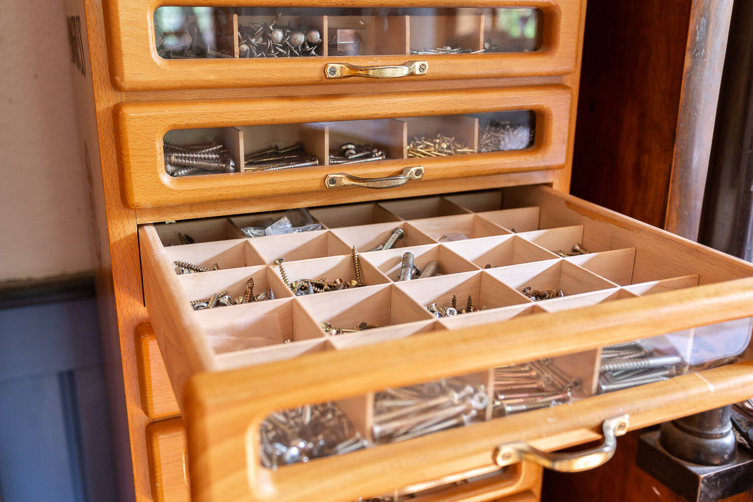 Screws and nails in draws, working space of a restaurator, Andrea Schenke Photography, Wittlich